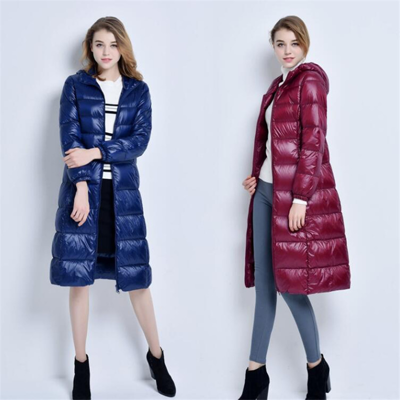 2018 Long Women Winter   Down   Jacket Women's Parka Ultra Light Weight 90% Duck   Down     Coat   Female Outerwear