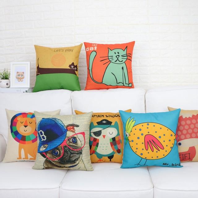 Cartoon Pillow Cute Cushion Office Home Car Back Bed Head Cotton Linen Waist Pad