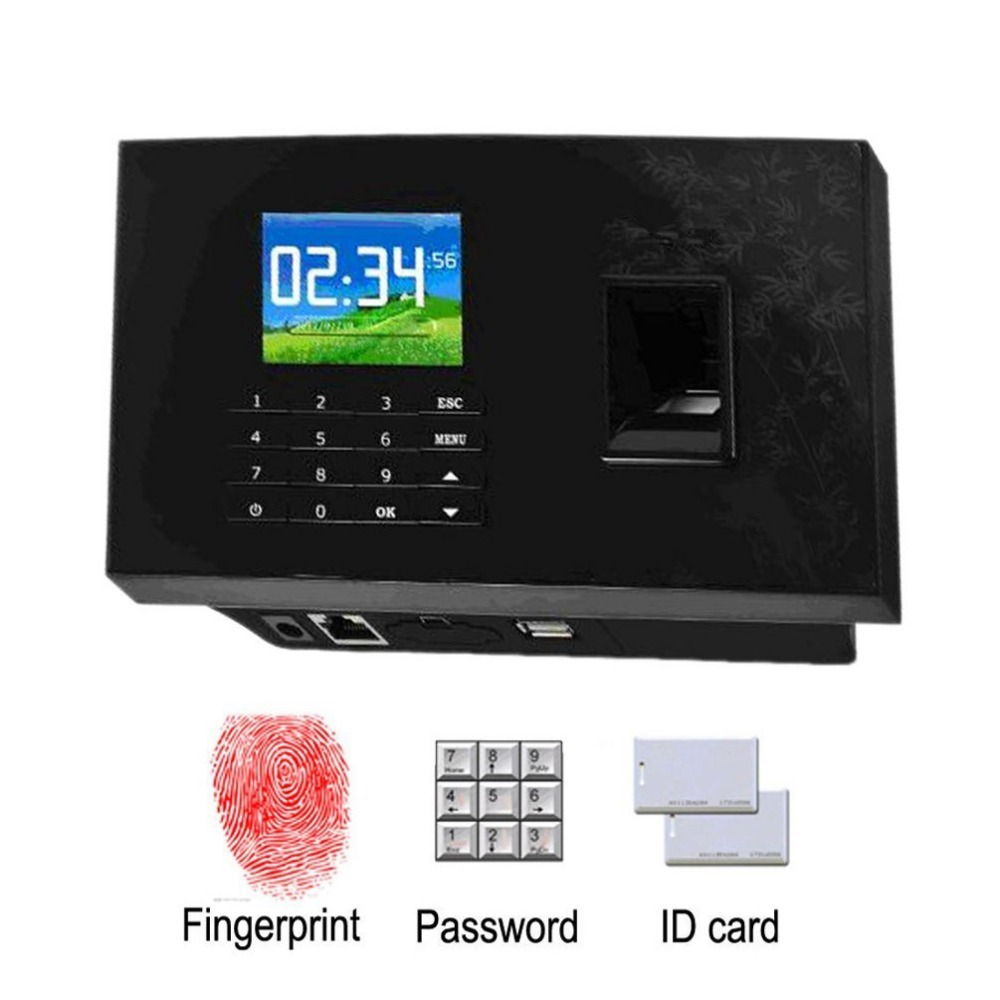 USB Biometric Fingerprint Time Attendance TCP IP RFID Card Reader Employee Work Time Clock 2.8 inch Screen Time Attendance