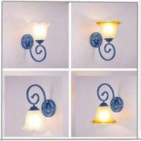 Luxury European Mediterranean Wall Lamps LED lamps bedroom Flower Wall Lamps E27 led lustre light wall lighting for 90 260V