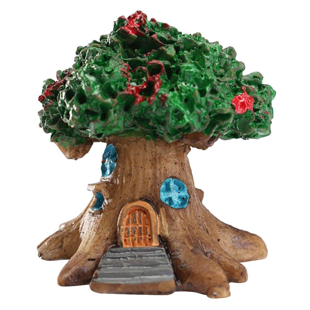 Мини Сказочный домик на дереве Миниатюрный Сад Микро Пейзаж орнамент Ремесло Декор - Цвет: Зеленый