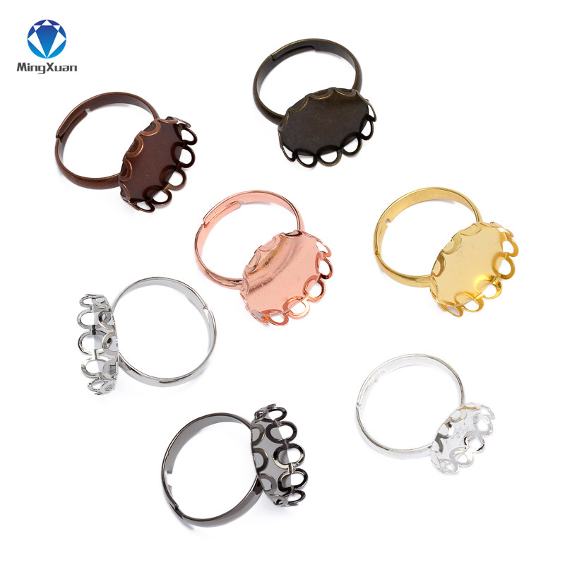 MINGXUAN 10pcs 10-20mm Copper Ring Base Blanks Cabochon Rings Settings Fit Round Glass Cabochon Jewelry Making Components