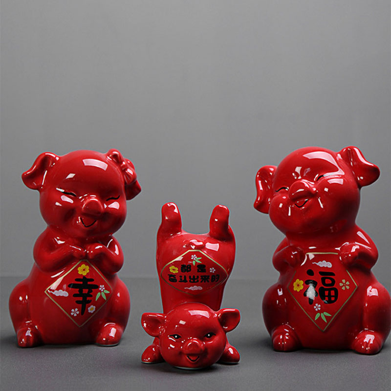 New cute Pig Ceramic Statue Animal Sculpture Red Glaze Happiness Pig Set Home Decoration Crafts Mascot Wedding Birthday Gifts