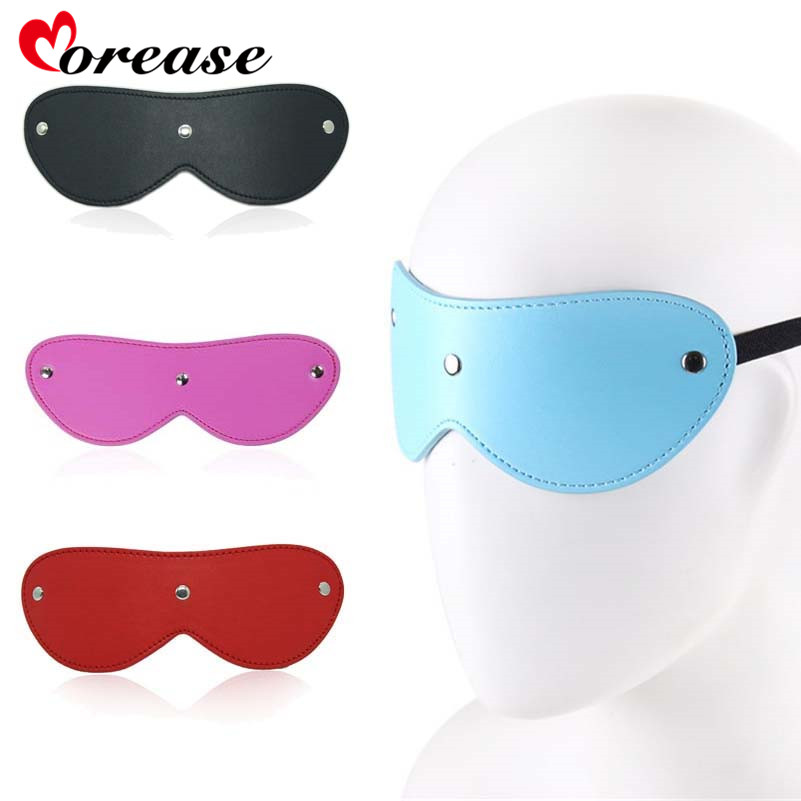 Morease Leather Blinder <font><b>Eye</b></font> <font><b>Mask</b></font> Blindfold Erotic Slave Restraint Adult Game Fetish Bdsm <font><b>Sex</b></font> Toy Product For Women Role Play New image