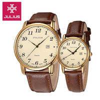ジュリアス女性の男性の腕時計クォーツ時間自動日付ファインファッションドレス革カップル恋人たちの誕生日ギフト JA-508