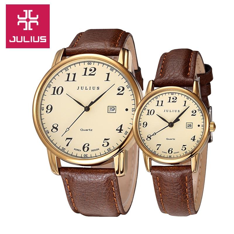Julius femmes hommes montre bracelet Quartz heures Auto Date Fine mode robe en cuir Couple amoureux cadeau d'anniversaire JA 508-in Montres couple from Montres    1