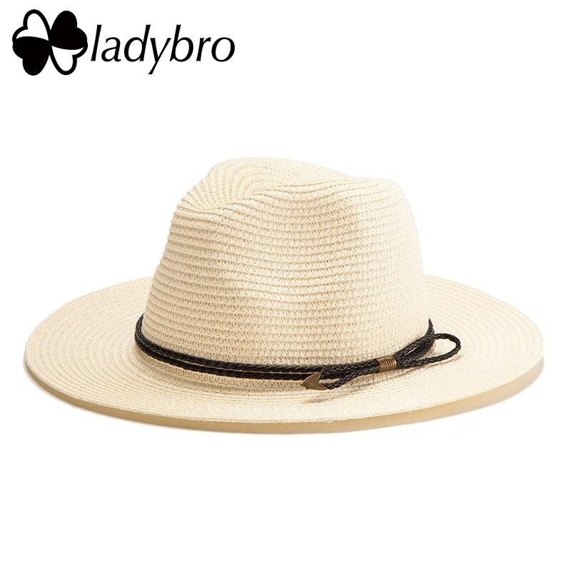 9a24719fe97 Ladybro Summer Panama Hat Men Straw Hat For Women Sun Hat Wide Brim Beach  Jazz Chapeau Male Lady Belt Visor Cap Sombrero Female-in Sun Hats from Men s  ...