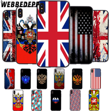 WEBBEDEPP Russia USA United Kingdom Flag Soft Case for iPhone 5 5S 6 6S 7 8 Plus X XS 11 Pro MAX XR Cover цена 2017