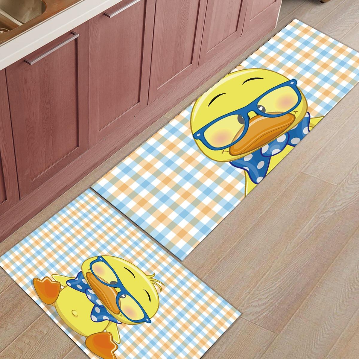 Nordique Cartoon moderne jaune canard 2 pièce cuisine tapis saleté débris boue trappeur chaussures de démarrage grattoir Machine lavable bain douche