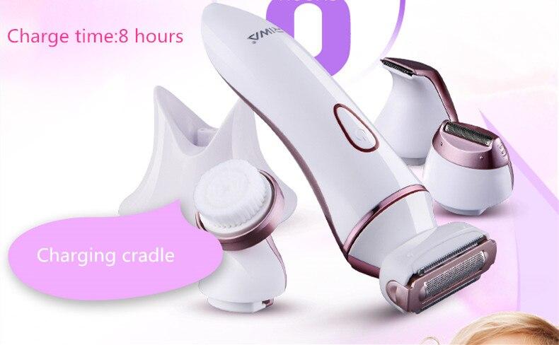 4 в 1 Женская бритва, бритва для женщин, триммер для удаления волос, бикини/тело/лицо/подмышек, моющийся перезаряжаемый электрический эпилятор