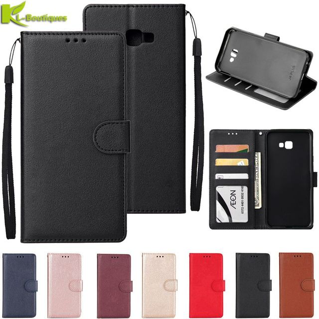 Für Samsung Galaxy J4 Plus Leder Fall auf für Samsung J4 J6 Plus 2018 Abdeckung Klassische Stil Flip Brieftasche Telefon fällen Frauen Männer