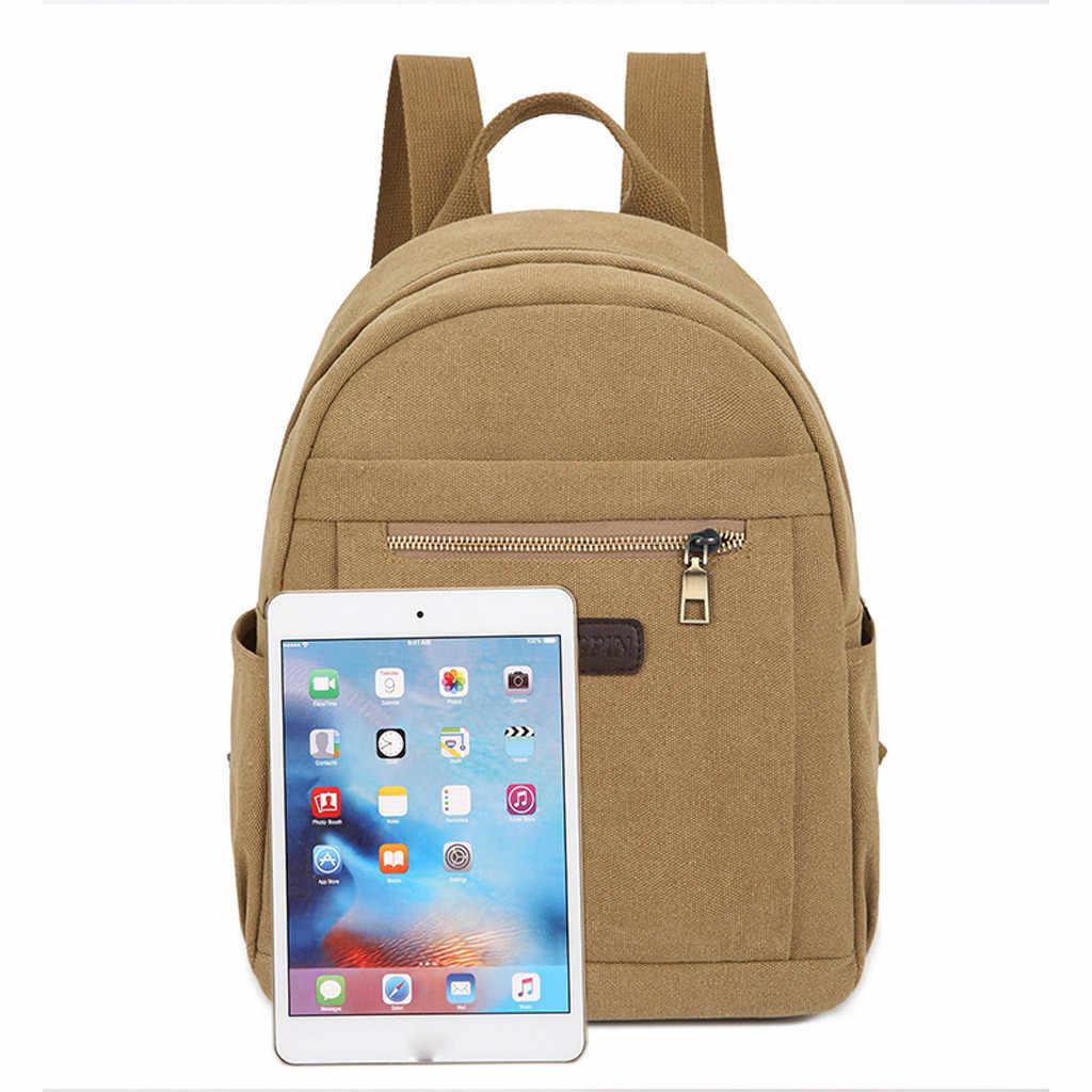 Par de mujeres Neutral Color sólido lona versátil mochila hombres estudiante ordenador puro Color cremallera bolsas viaje bolsos de hombro