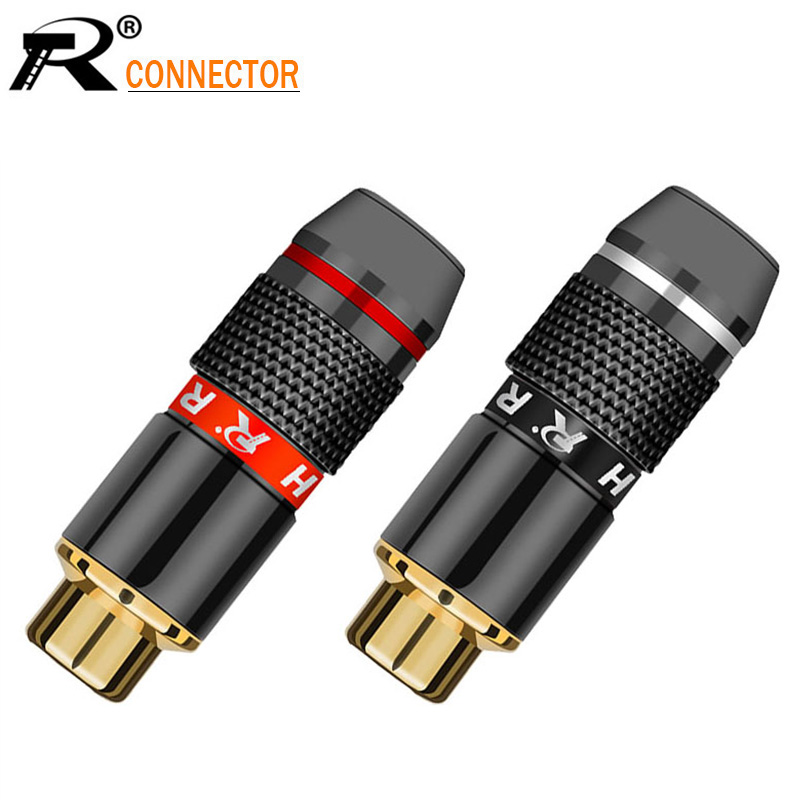 100pcs lot Female RCA Jack Socket Wire Connector Gold Plated Jack RCA Speaker Connector 50 Pairs