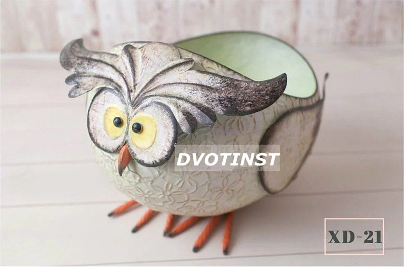 Dvotinst Newborn Baby Photography Props Iron Posing Animals Owl Box Tub Fotografia Accessories Infant Studio Shooting Photo Prop baby photo props hot animals infant rabbit cotton crochet costume baby shower birthday party photography prop