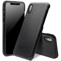 QIALINO For IPhone X Luxury Phone Cover Bag Mesh Holes Genuine Leather Coated PC Hard Case
