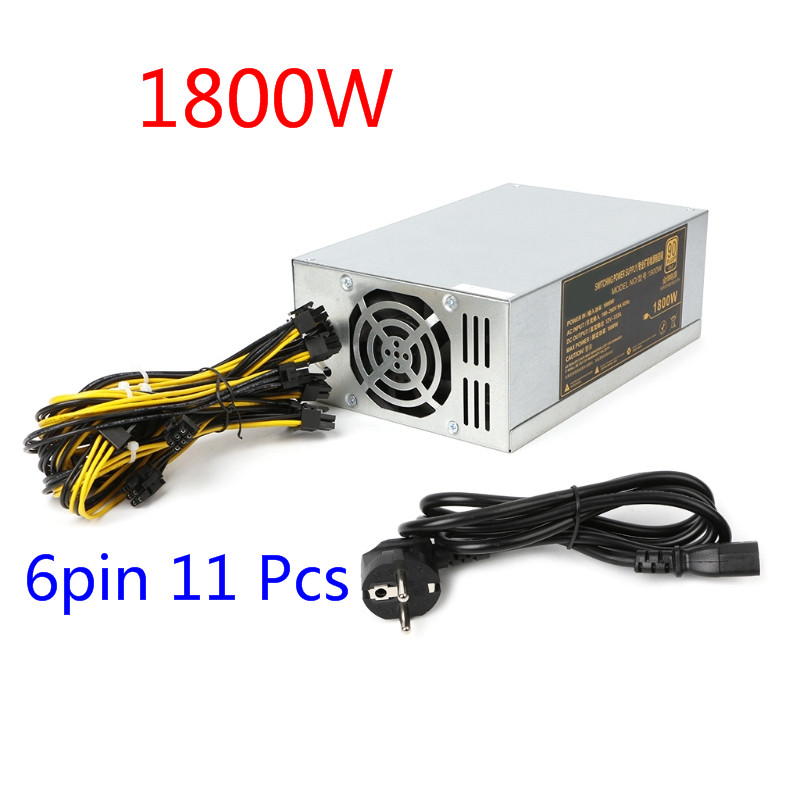 Original 1800W Power Supply 6PIN*11 APW3++-12-1600 ETH PSU EU Plug For Antminer BTC Miner miner power supply антенна texas 1800 power где