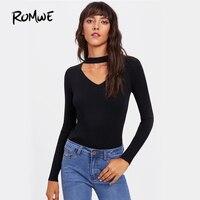 ROMWE V Cut Neck Sexy Ribbed T Shirt Tee Women Black Slim Long Sleeve Basic Plain