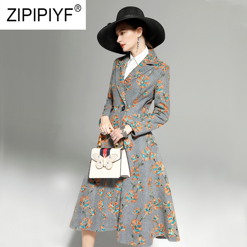 2019 Spring Women Vintage Long Woolen Coats Floral Printing Long Sleeve Slim Waist Embroidery Double Breasted