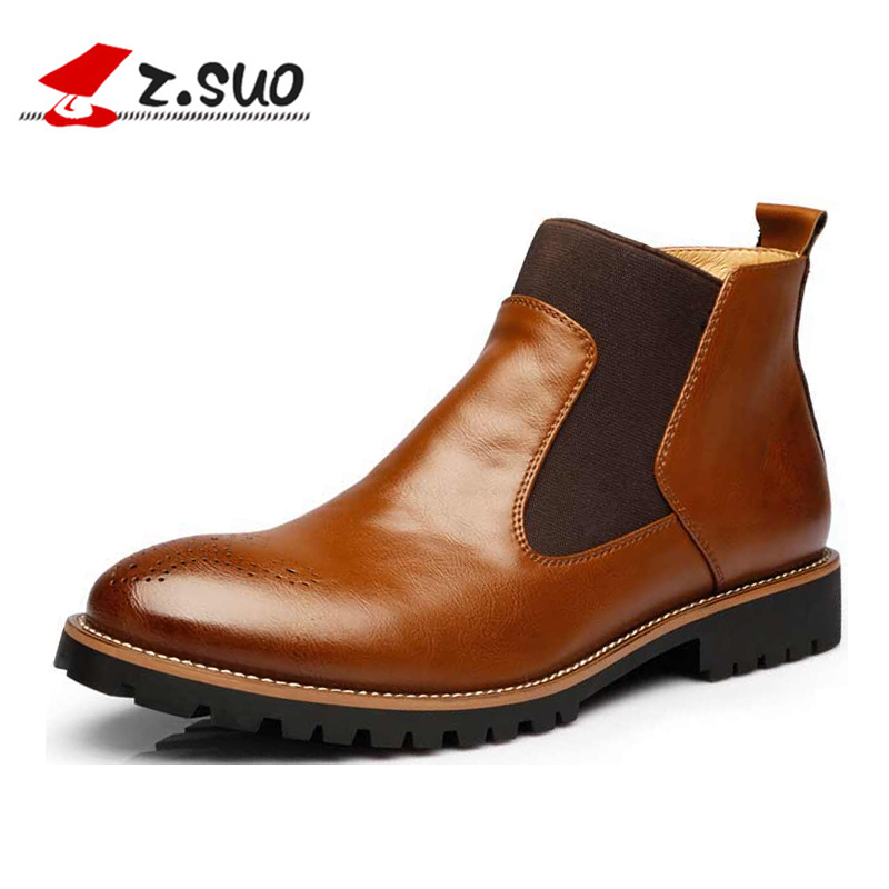 ZSUO Spring Mens Chelsea Leather Boots Men British Style Fashion Brogues Ankle Boots Black Winter Slip