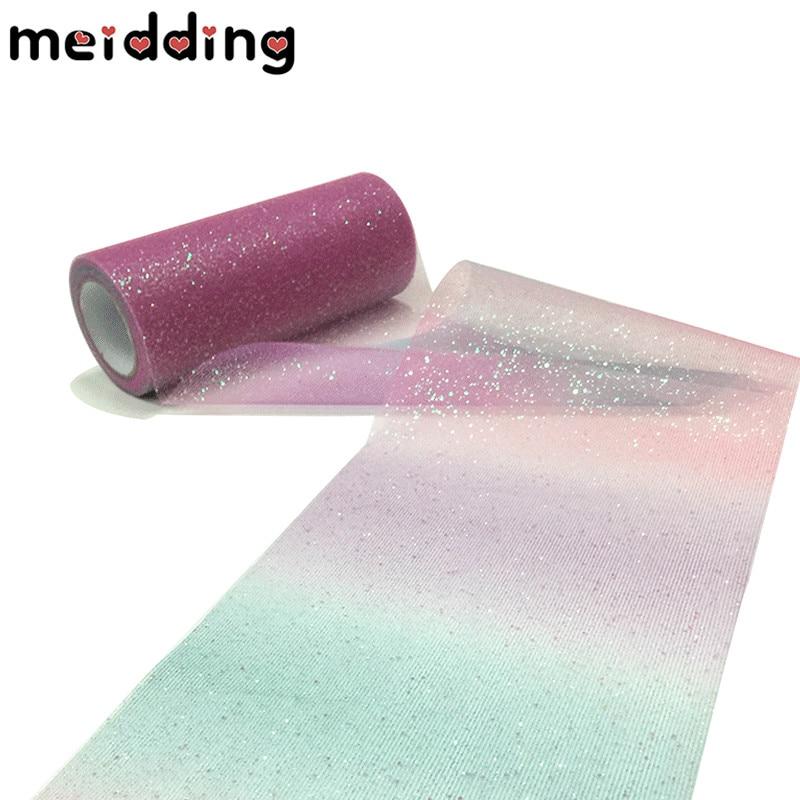 MEIDDING 10Yard/Roll 15cm Rainbow Glitter Tulle Roll Crystal Sequin Organza DIY Craft Tutu Skirt Gift Home Wedding Party Decor