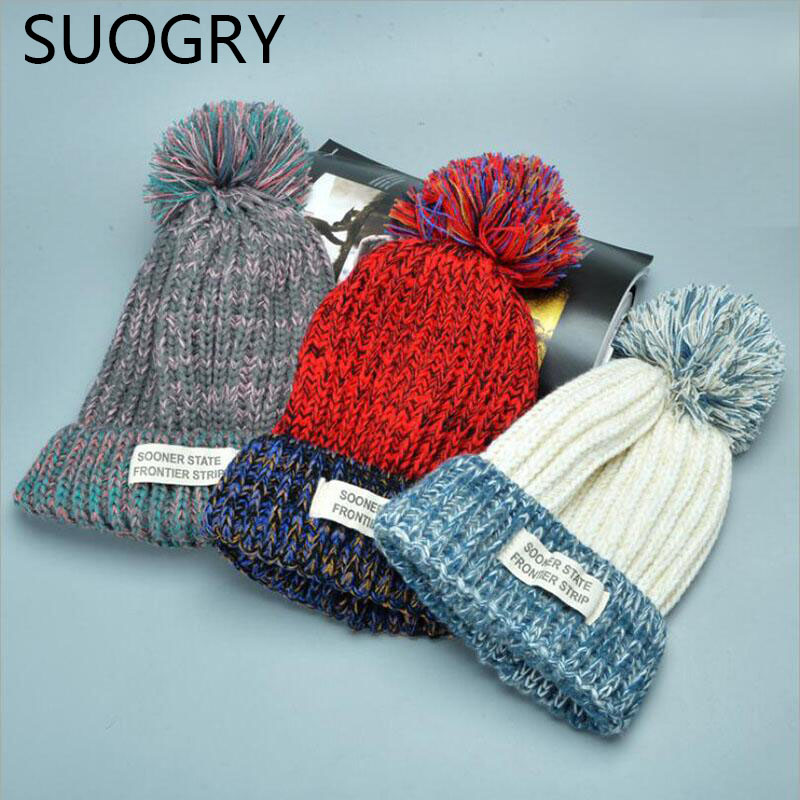 2016 New Fashion Woman's Warm Woolen Winter Hats Knitted Fur Cap For Woman Sooner State Letter Skullies & Beanies 6 Color Gorros skullies beanies winter woman fashion knitting hats with pompom beanies girls warm letter b cap