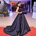 Volour elegantes vestidos de baile em preto grande arco 2017 longa noite formal party dress black satin africano formal vestidos abendkleider