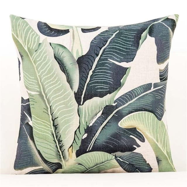 3D Verde Foglia di Fodere per Cuscini Botanico Tropicale Foglie di Palma Geomtric Nero Beige Cuscino Coperture Camera Da Letto Divano Decorazione
