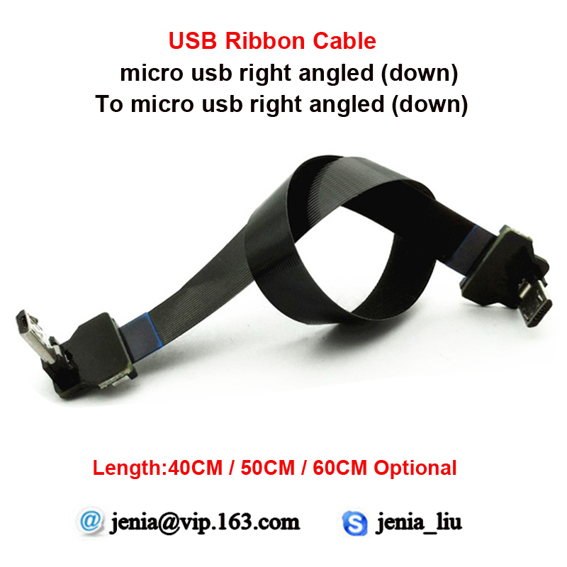 40cm 50cm 60cm Flexible Metal USB Soft cable micro down angled male to micro down angled ffc ultra thin ribbon cable 40cm 50cm 60cm ultra thin usb flat ribbon cable type c straight to male micro down angle line connector