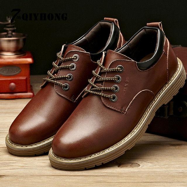 QIYHONG Brand 2016 New Leather Shoes Men'S Casual Shoes Big Head Round Tooling Shoes Male Low To Help Large Size Shoes