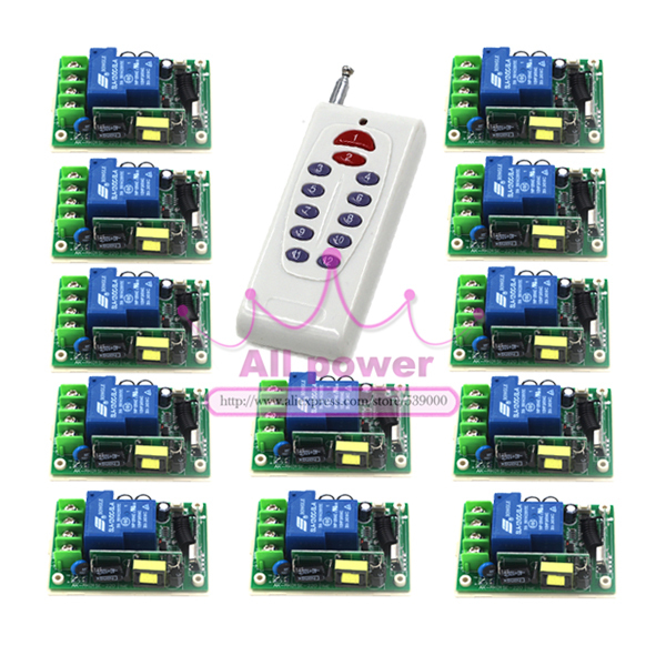RF Wireless Remote Control Switch Transmitter&12Receiver 85V-280V 1CH for Light/LED/Lamp Applicance Toggle Momentary Latched ac 85v 250v wireless remote control switch remote power switch 1ch relay for light lamp led bulb 3 x receiver transmitter