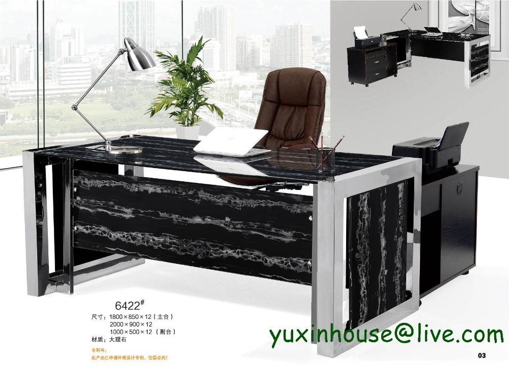 Office new feeling tempered glass office desk boss table for Commercial furniture