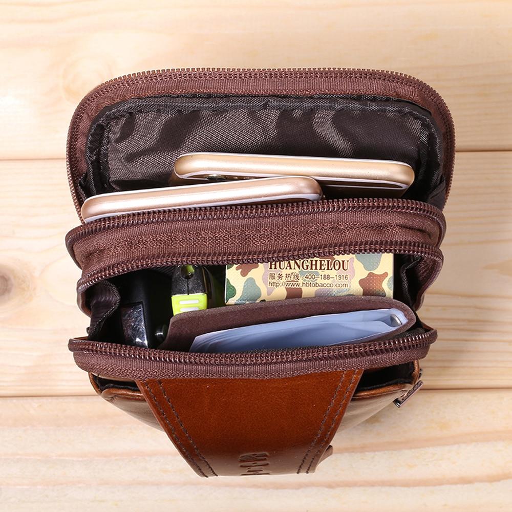 GOLD CORAL Genuine Leather Men Phone Pouch Shoulder Messenger Crossbody Bags Men's Casual Bum Hip Belt Waist Bag Fanny Pack