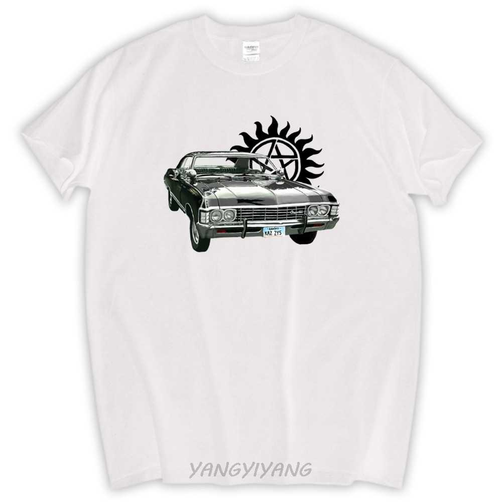 Бесплатная Доставка Сверхъестественное футболка Дин Сэм Винчестер Shevy Impala белый футболка размер евро футболка хлопковая футболка