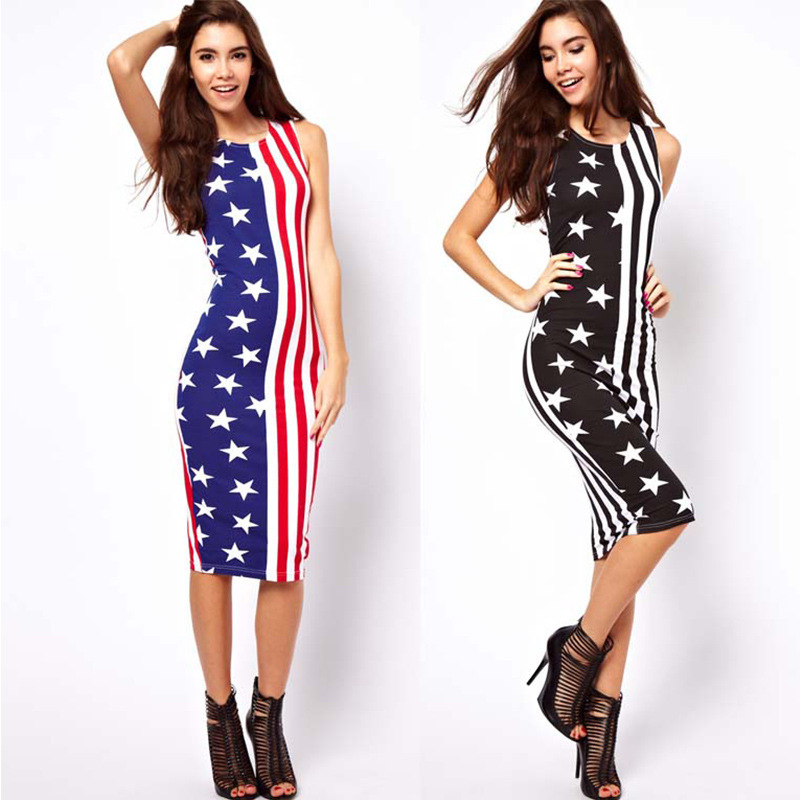 Women Sexy American Flag Print O-Neck Sleeveless Summer Dress Sexy Pencil Bodycon Stars Stripe Patterns Slim Party Robe Vestidos