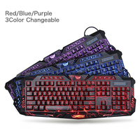 Newest M300 English 3Colors Backlit Keyboard 114 keys LED USB Wired Colorful Breathing Waterproof Computer Crack Gaming Keyboard
