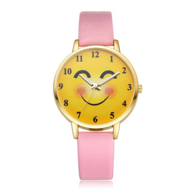 Ivpai Sweet Smile Women's Dress Watch PU Strap Quartz Wrist Watch Analog Round D
