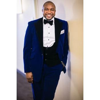 Dark Blue Velour Jacket Vest Slim Fit Men Suit 3 Pieces Casual Groomsmen Groom Tuxedo Velvet Prom Men Suits (Jacket+Pants+Vest)