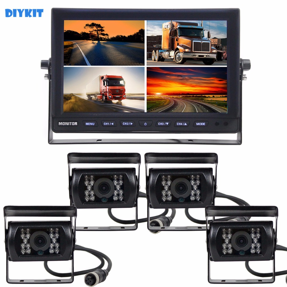 DIYKIT 10Inch Split QUAD Car Monitor + 4 x CCD IR Night Vision Rear View Camera Waterproof for Car Truck Bus Reversing Camera все цены
