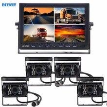 DIYKIT Dividir QUAD Car Monitor de 10 Polegadas + 4 x CCD IR noite Câmera de Visão Traseira Impermeável para Truck Bus Car Invertendo câmera