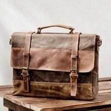 Водонепроницаемый портфель с масляным воском, мужская сумка в европейском и американском стиле, ретро деловая сумка, сумка через плечо