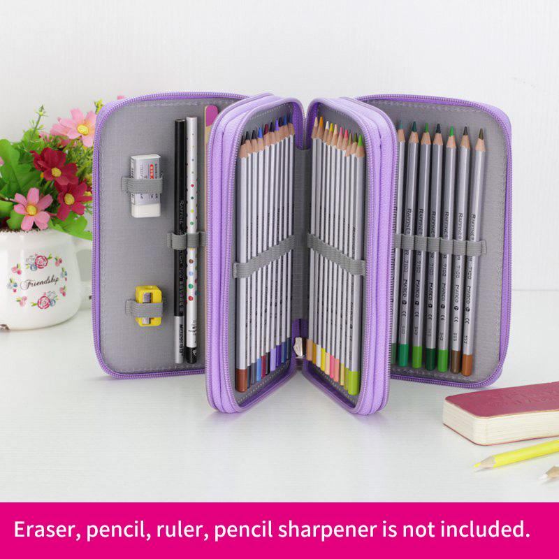 Bianyo 52Holders 3 Layer Handy School Pencils Case Large Capacity Colored Pencil Bag Gel Pen Case For Student Gift Art Supplies olike 150 slots pencil case canvas pencils case large capacity portable pencil bag for school colored gel pen bag art supplies