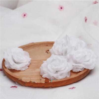 8cm blanc ivoire crème artificielle Rose fleur tête pour mariage décoration saint valentin cadeau Rose à faire soi-même ours faux fleurs Flores