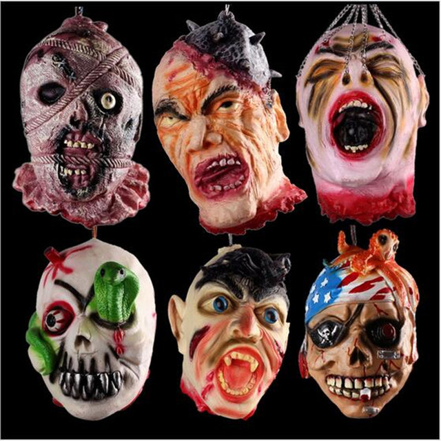 2017 hot sale scary halloween decoration horror skull head masks prop rubber horror scary human blood