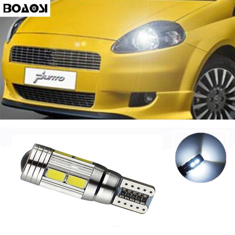 BOAOSI 1x T10 LED W5W 5630smd Car Lamp Light bulbs with Projector Lens for FIAT 500 Punto Stilo Palio Bravo Ducato Doblo rossinka смеситель для кухни rossinka d40 23 однорычажный хром hpkoehk