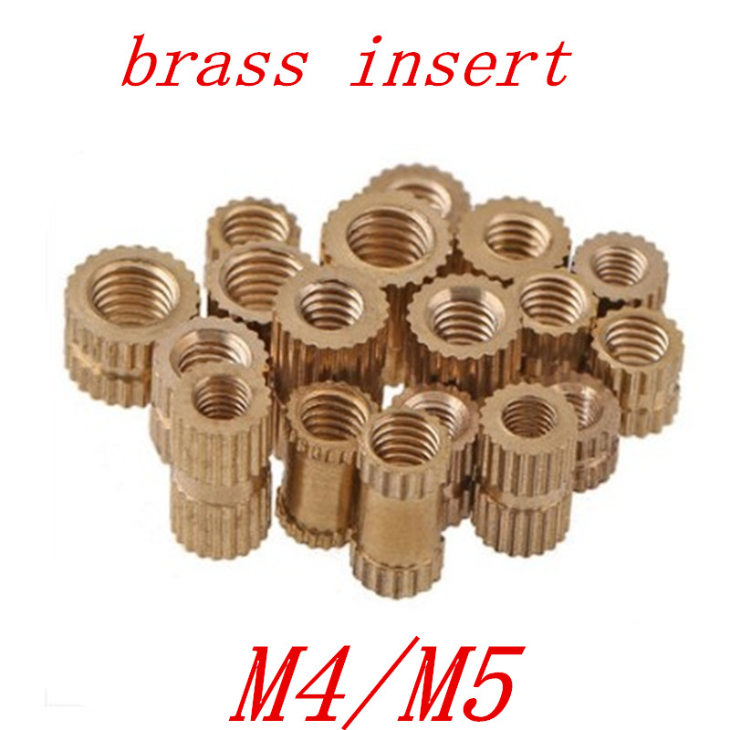 50pcs/lot Brass insert M4 M5 Through thread brass insert nut / knurled nuts for injection moulding цены