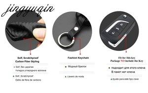 Image 2 - jingyuqin Carbon Fiber Silicone Remote Fob Case For Toyota Highlander Camry Corolla EX VIOS 3 Button Car Flip Folding Key Cover
