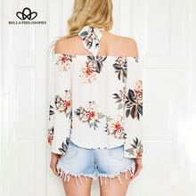 Bella Philosophy 2017 Floral print off shoulder chiffon blouse  tops halter cool long sleeve   shirt Sexy loose white blusas