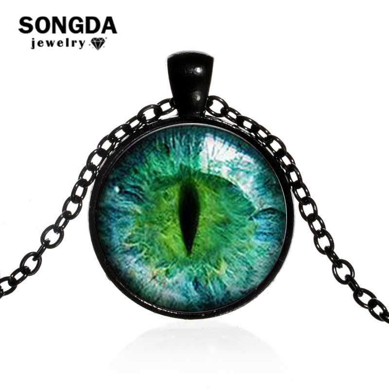 SONGDA Dragon Eyes Necklace Evil Eye Round Clear Glass Cabochon Time Gem Handmade Necklaces Pendants Personality Gothic Jewelry