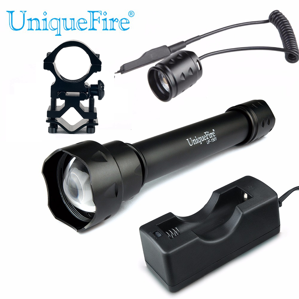 UniqueFire 1501 Zoomable IR 940nm LED IR 3 Modes Flashlight +Charger+Scope Mount+Rat Tail For Hunting Camping uniquefire t20 upgraded zoomable led flashlight ir 940nm 3 mode lamp light torch with scope mount waterproof for hunting camping