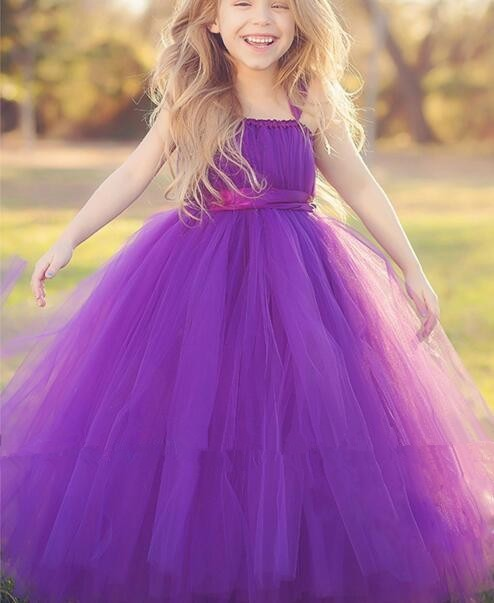 354978cc9f8 2016 Purple Flower Girl Dresses Tulle Light Silver Ruffles Girls Dresses  For Weddings Floor Length Communion Dresses In Stock